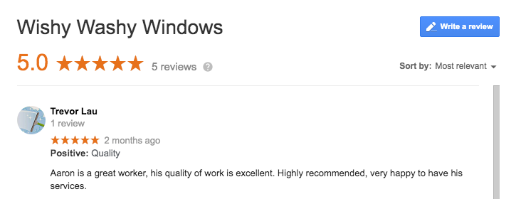 Review of wishy washy windows cleaning